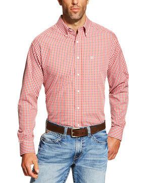 Ariat Men's Red Plaid Hawkins Long Sleeve Shirt , Red, hi-res
