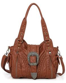 Montana West Women's Daria Buckle Bag, Brown, hi-res