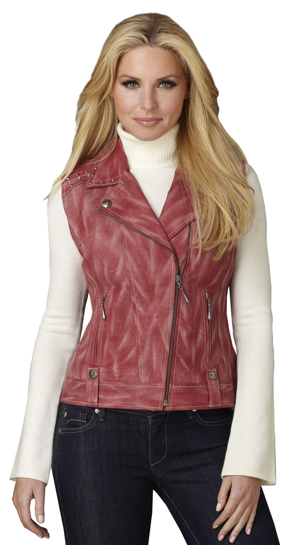 Cripple Creek Women's Distressed Red Studded Leather Moto Vest, Red, hi-res