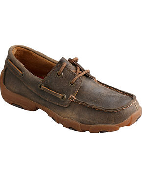 Twisted X Youth Boys' Brown Rubber Sole Driving Moccasins - Moc Toe , Brown, hi-res