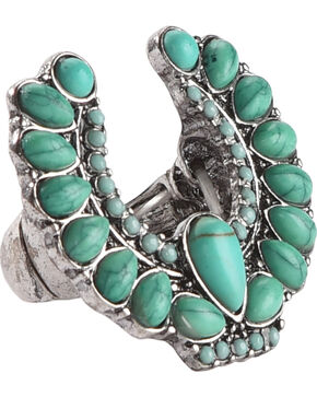 Shyanne Women's Turquoise Stone Squash Blossom Ring, Turquoise, hi-res