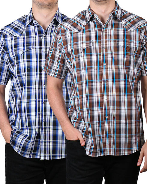 Ely Cattleman Men's Plaid Snap Assorted Short Sleeve Shirt, Multi, hi-res