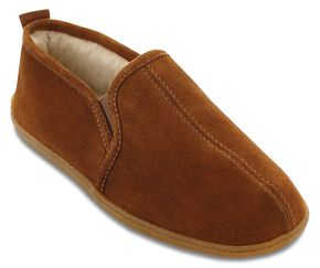 Minnetonka Men's Pile Lined Romeo Slippers, Brown, hi-res