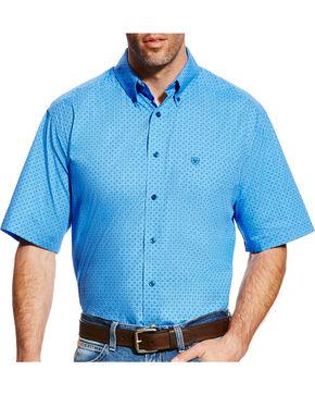 Ariat Men's Blue Dundee Short Sleeve Western Shirt - Tall , Light Blue, hi-res