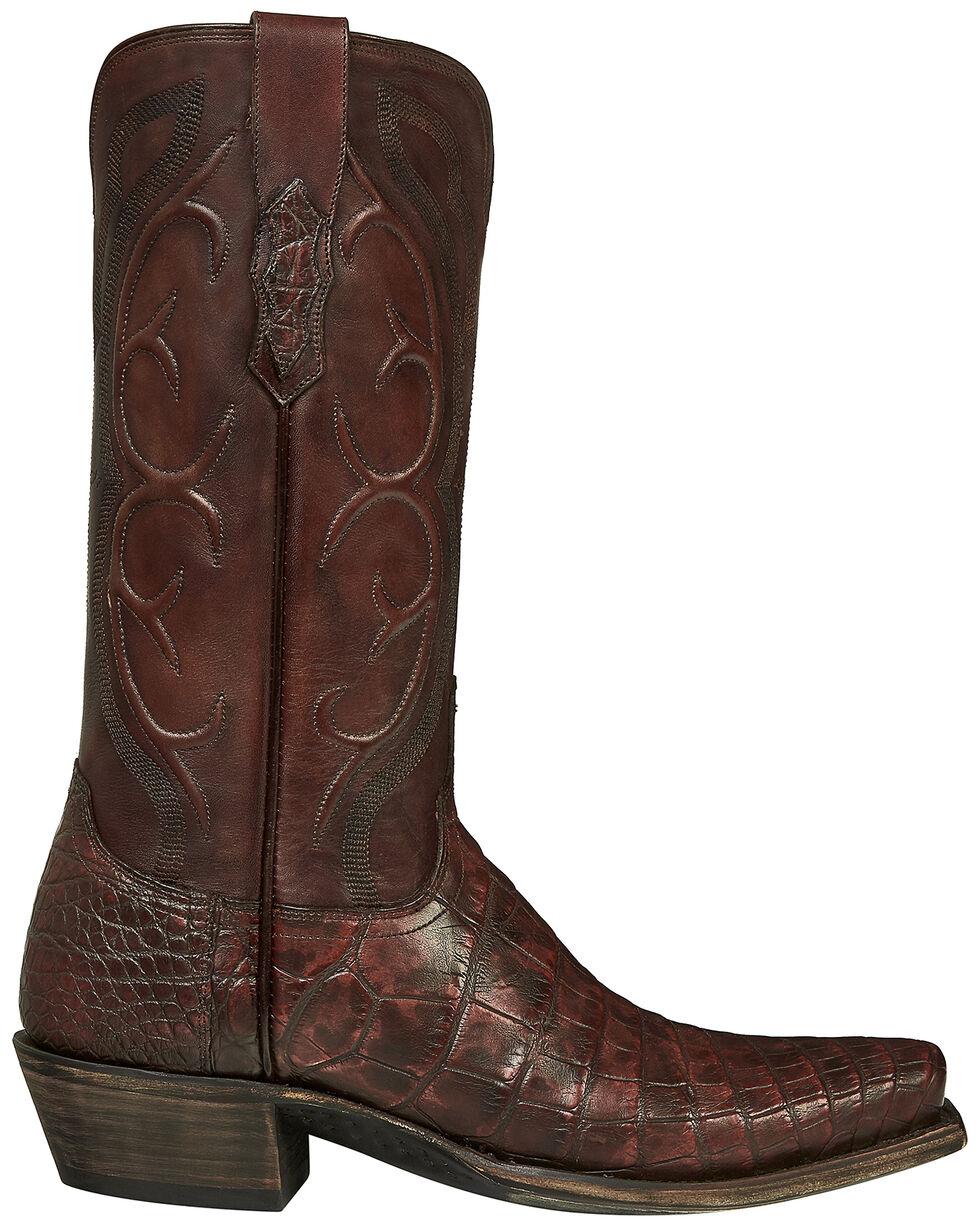 Lucchese Handmade Brick Giant Gator Van Cowboy Boots - Square Toe, Dark Brown, hi-res
