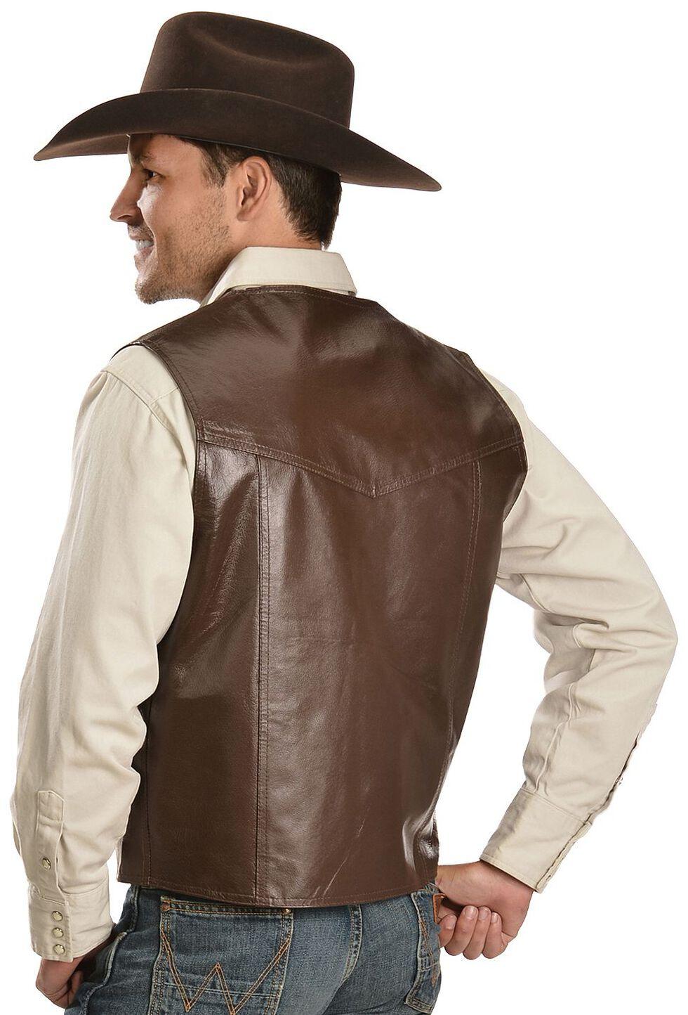 Vintage Leather Western Yoke Genuine Leather Vest, Brown, hi-res