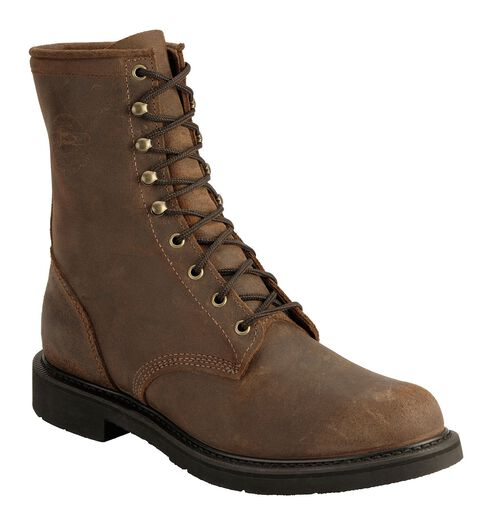 Justin Men's American Tradition Lace-Up Work Boots - Round Toe, Brown, hi-res