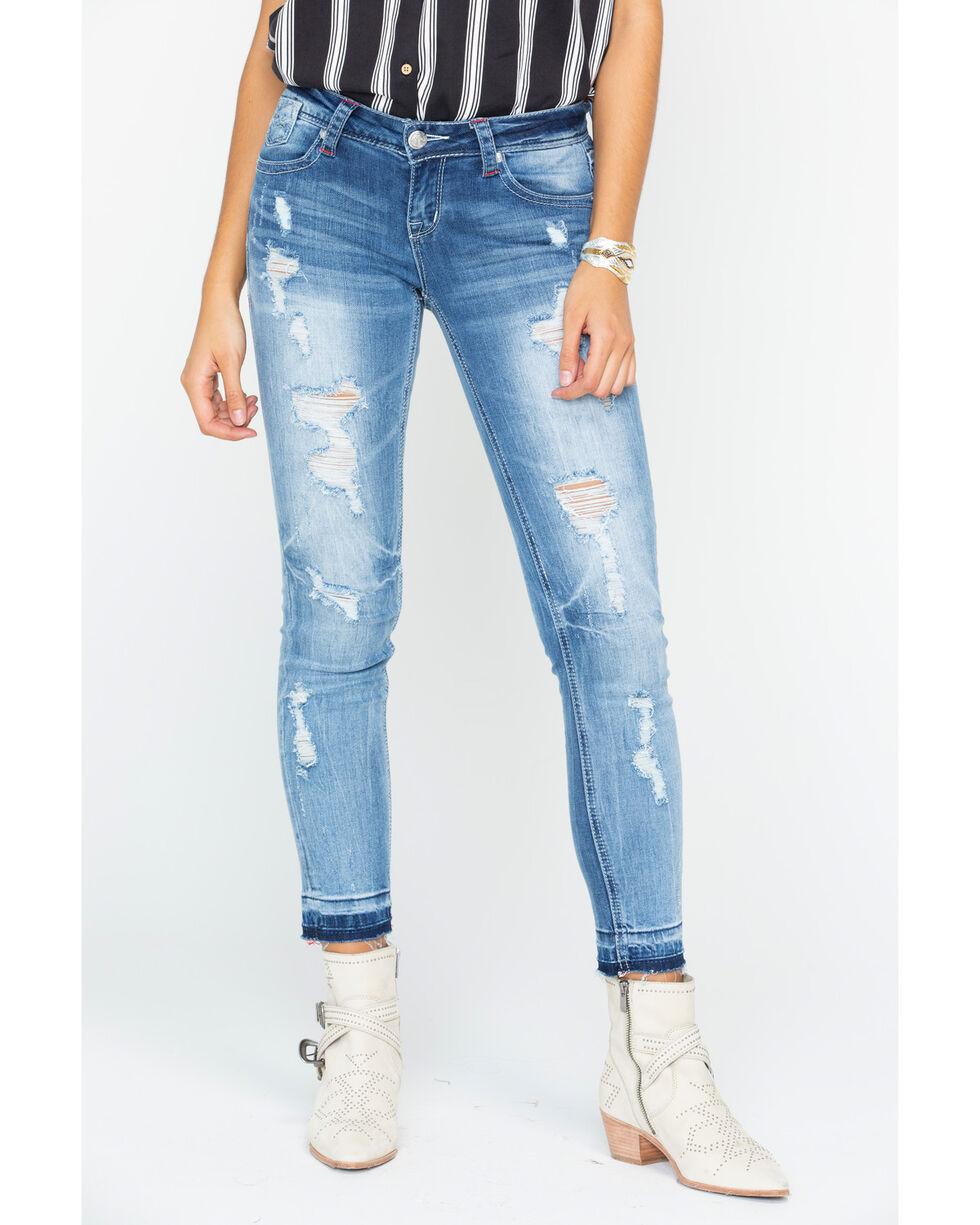 Grace in LA Women's Striped Patch Jeans - Skinny , Indigo, hi-res