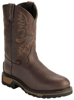 Tony Lama TLX Waterproof Insulated Pull-On Work Boots - Steel Toe, Briar, hi-res