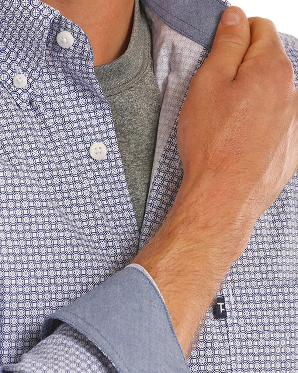 Tuf Cooper Performance Men's Blue Stretch Printed Shirt , Blue, hi-res