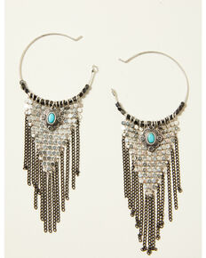 Idyllwind Women's Fringe Binge Chain Earrings, Silver, hi-res