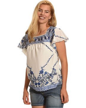 Katie's Kloset Women's Ruffle Sleeve Print Top - Plus Size, Blue/white, hi-res