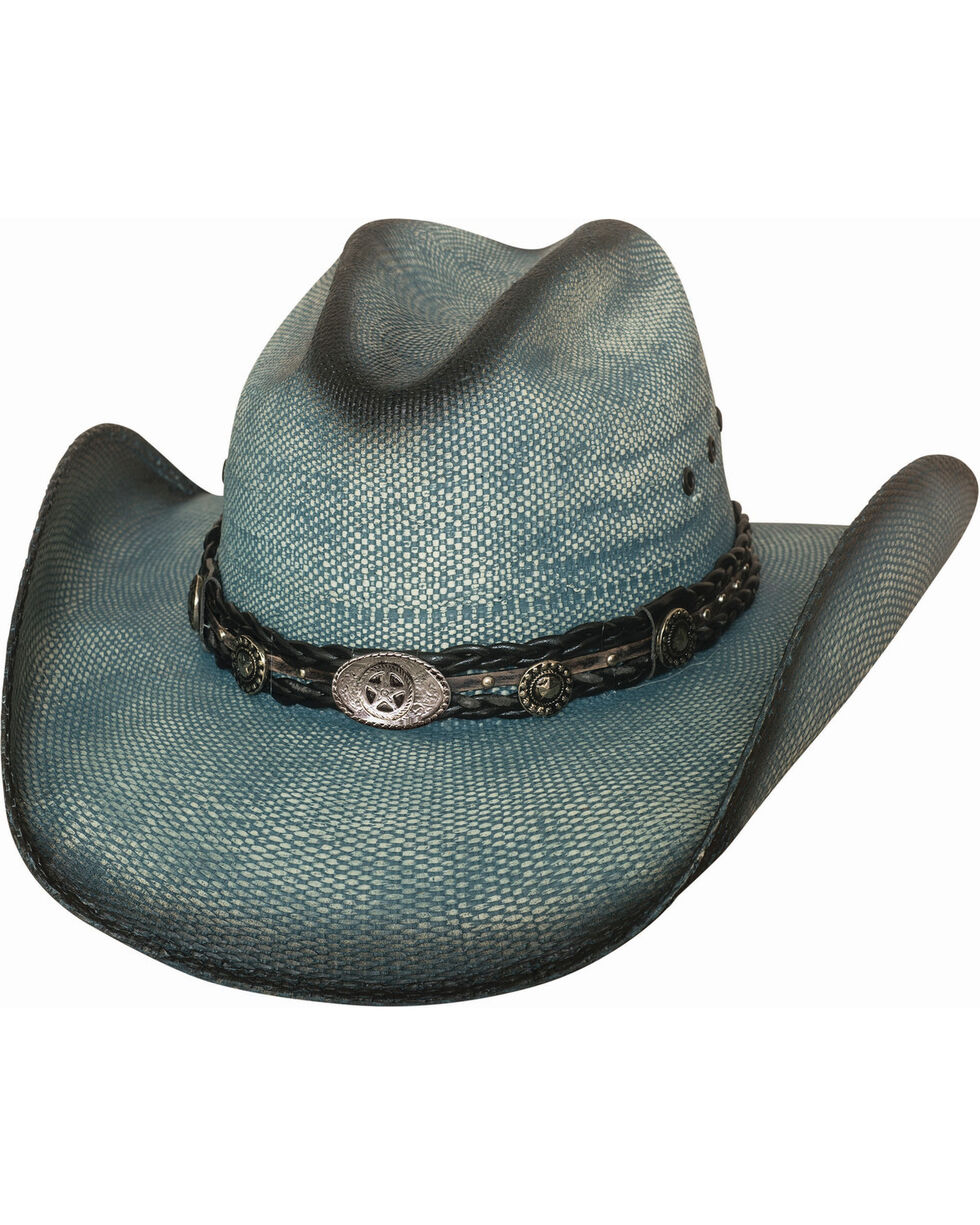 Bullhide Women's Into You Straw Cowboy Hat , Blue, hi-res