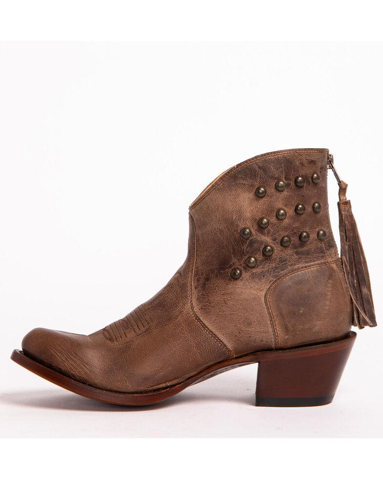 Shyanne Women's Studded Fringe Booties, Brown, hi-res