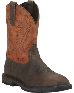 Ariat Groundbreaker Work Boots - Steel Toe, Brown, hi-res