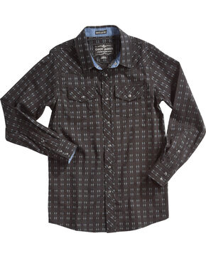Cody James Boys' Railroad Print Long Sleeve Snap Shirt, Black, hi-res