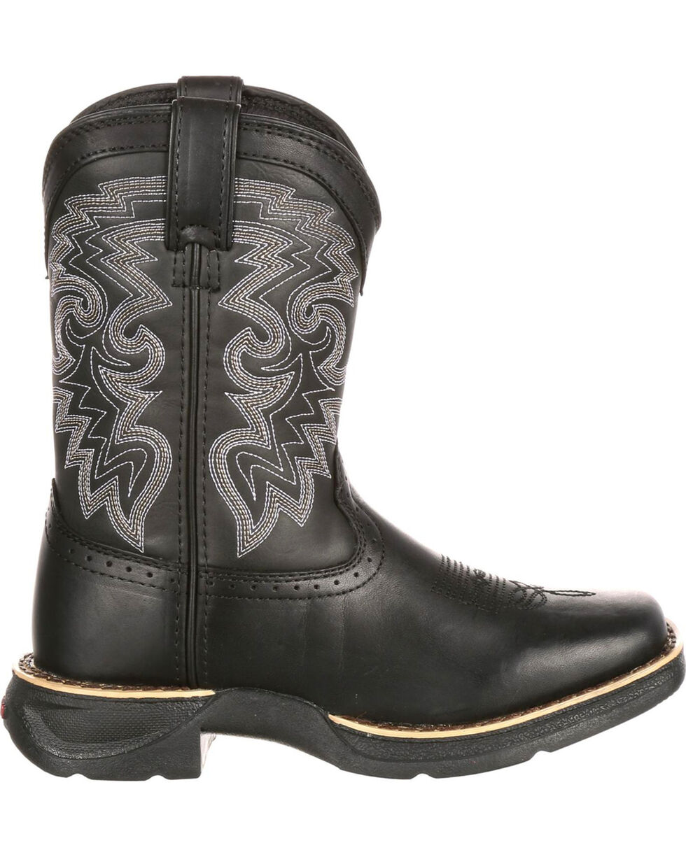 Durango Youth Boys' Black Stockman Western Boots - Square Toe , Black, hi-res