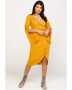 Rock & Roll Denim Women's Mustard Ribbed Bell Sleeve Dress , Dark Yellow, hi-res
