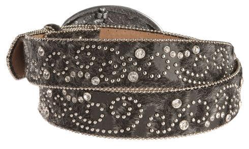 Nocona Hair-On-Hide Embellished Buckle Belt, Black, hi-res