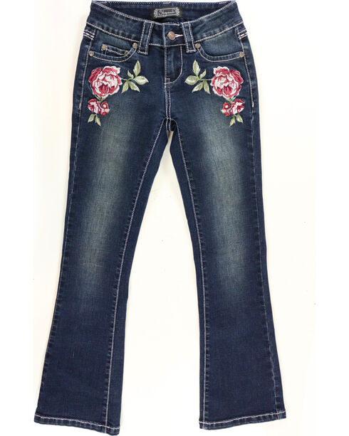 Shyanne Girls' Flower Embroidered Jeans - Boot Cut, Blue, hi-res
