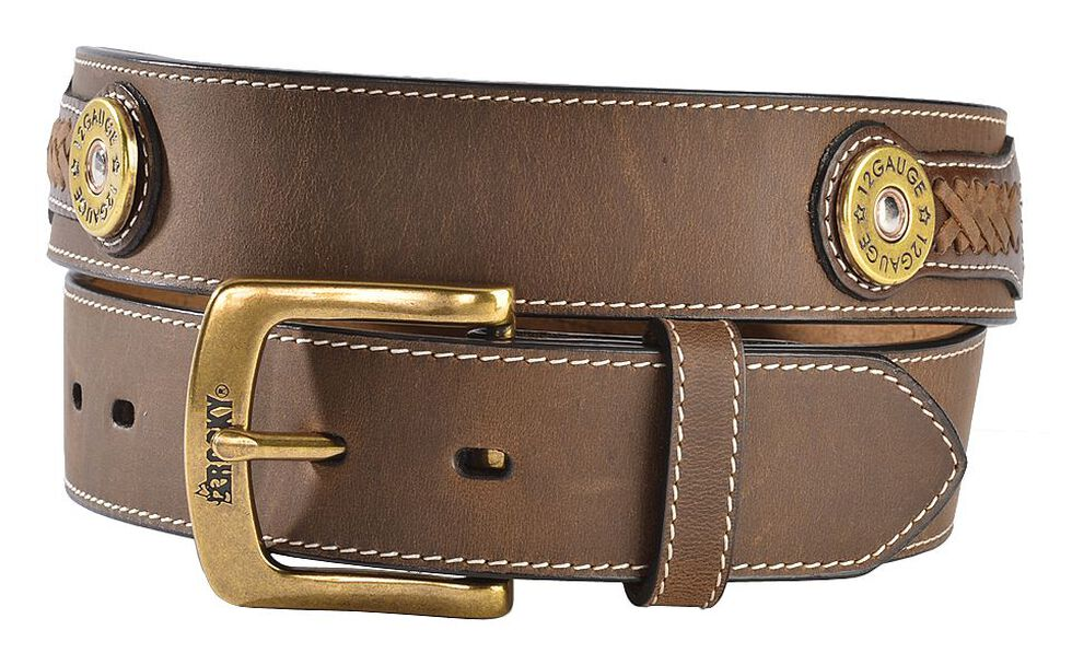 Rocky Camo Print Inlay & Shotgun Shell Concho Leather Belt, Tan, hi-res