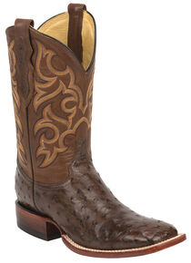 Justin Tobacco Brown Full Quill Ostrich Cowboy Boots - Wide Square Toe , Tobacco, hi-res