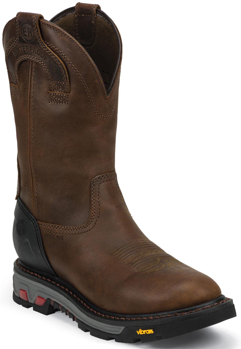 Justin Men's Mechanic Brown EH Waterproof Work Boots - Steel Toe, Brown, hi-res