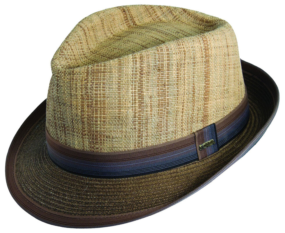 67fe3d29489 Zoomed Image Scala Men's Brown Raffia & Paper Braid Fedora Hat, Brown,  hi-res
