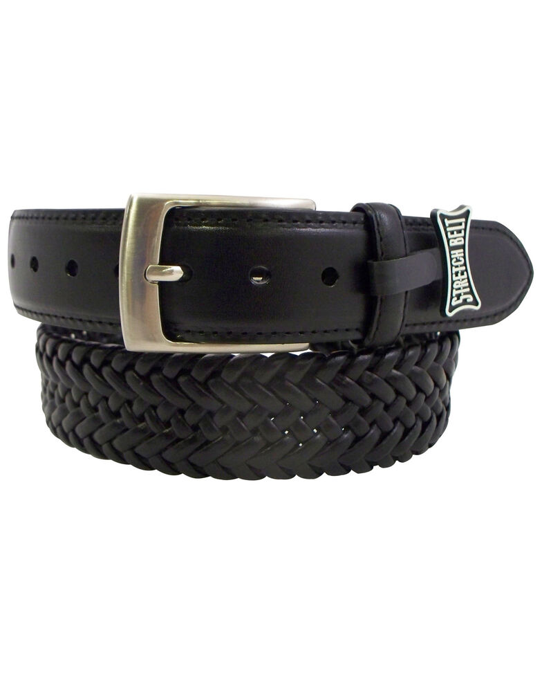 Danbury Men's Leather Braided Belt - Big, Black, hi-res