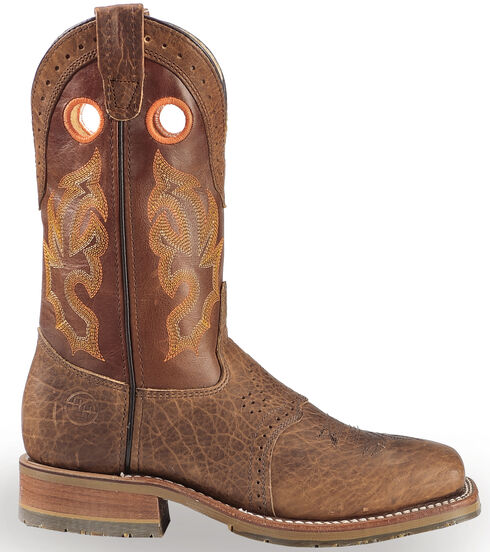 Double H Domestic Wide Square Toe ICE Roper Boots - Steel Toe, Brown, hi-res