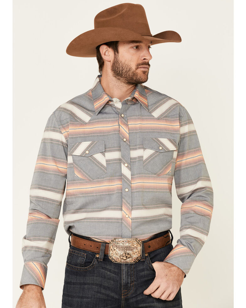 Rock & Roll Denim Men's Vintage 46 Navy Striped Long Sleeve Western Shirt , Navy, hi-res