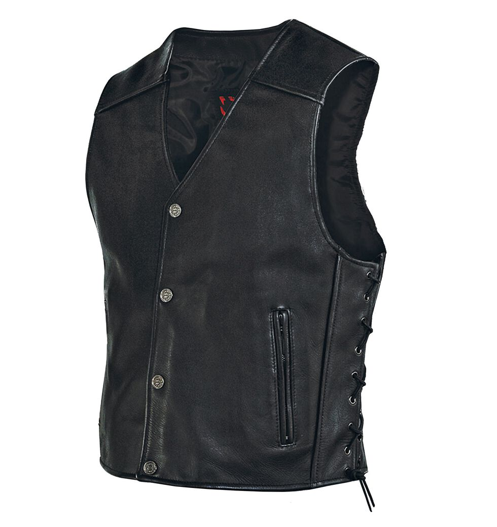 Milwaukee Motorcycle Side Lace Leather Vest - XL, , hi-res