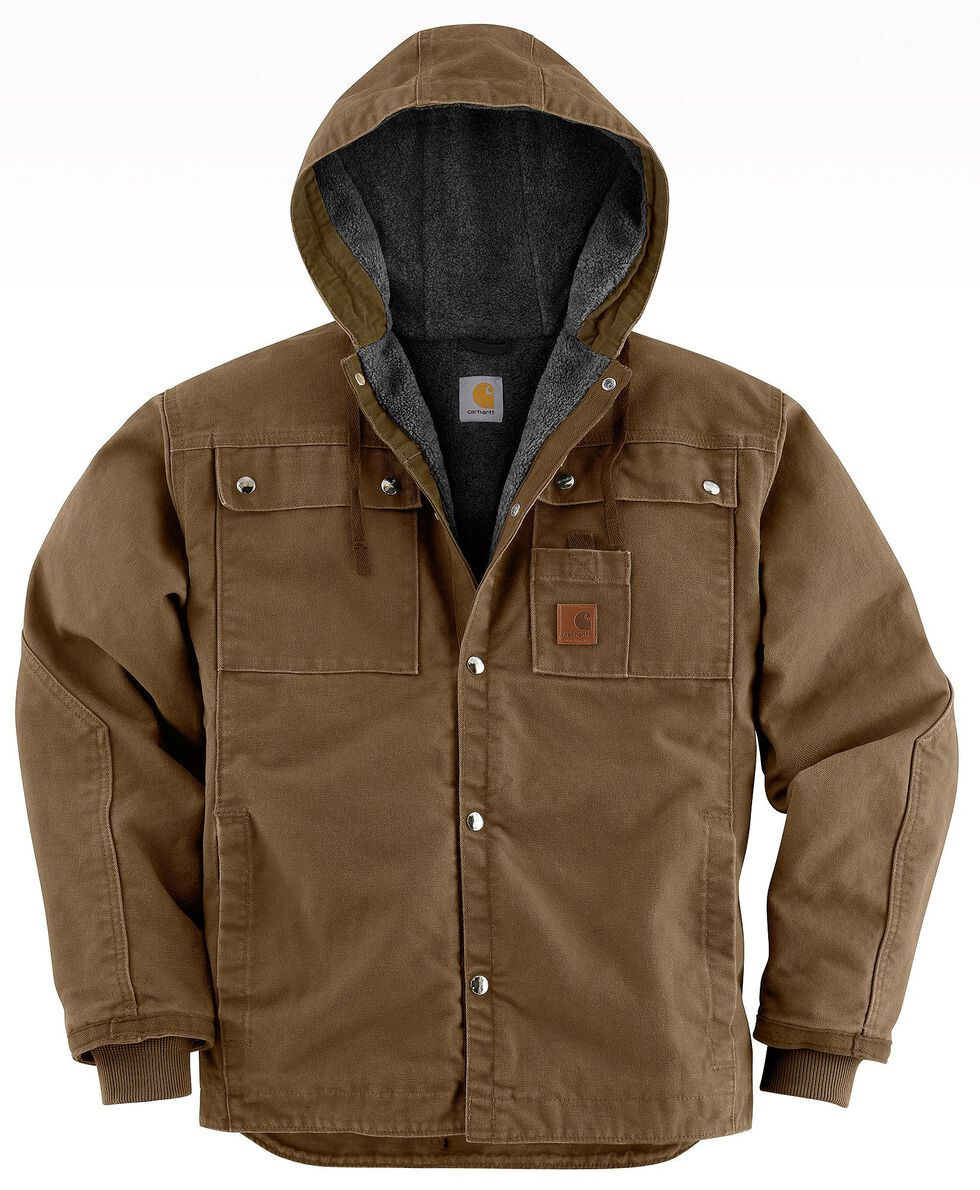 Carhartt Sandstone Hooded Sherpa-Lined Multi Pocket Jacket - Big & Tall, Brown, hi-res