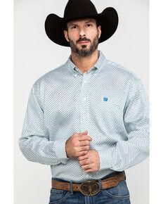 Cinch Men's Mint Tencel Geo Print Long Sleeve Western Shirt , Light Green, hi-res