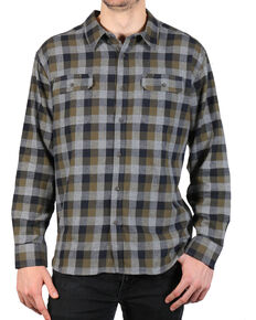 American Worker Men's Plaid Tasked Flannel Shirt , Charcoal, hi-res