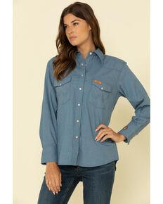 Wrangler Women's FR Blue Snap Long Sleeve Work Shirt, Blue, hi-res