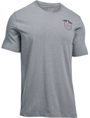 Under Armour Freedom Men's Grey Home of the Brave Tactical Graphic T-Shirt, Grey, hi-res