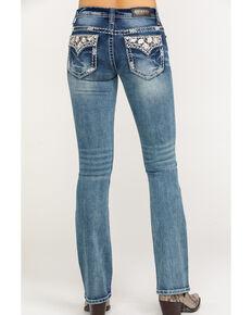 Shyanne Women's Faux Floral Flap Bootcut Jeans, Blue, hi-res
