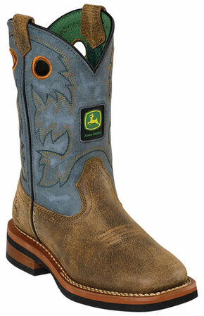 John Deere Boys' Johnny Popper Blue Western Boots - Square Toe, Tan, hi-res