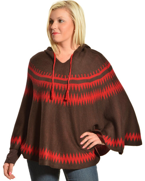 Pink Cattlelac Women's Hooded Sweater Poncho, Brown, hi-res