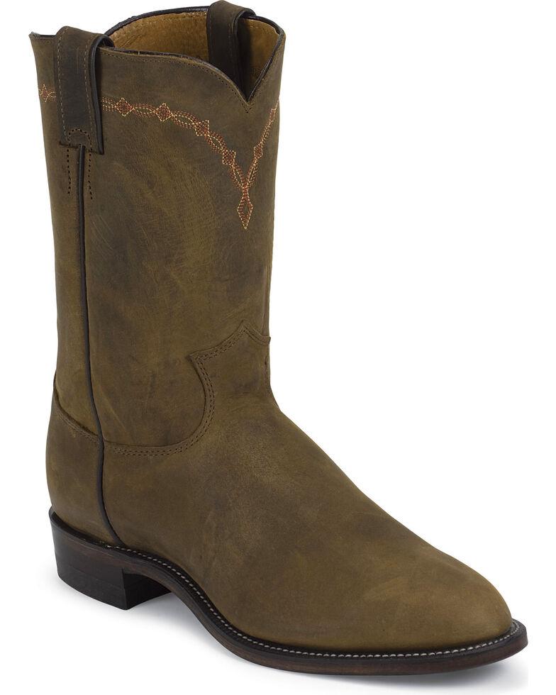 Justin Men's Bay Apache Classic Roper Boots - Round Toe, Bay Apache, hi-res