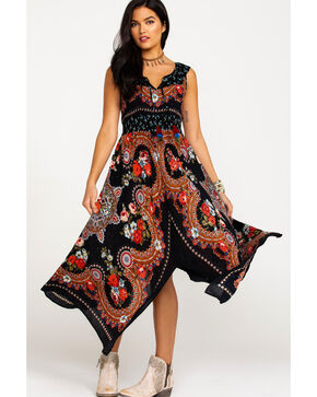 Bila Women's Gypsy Print Hanky Hem Maxi Dress , Black, hi-res