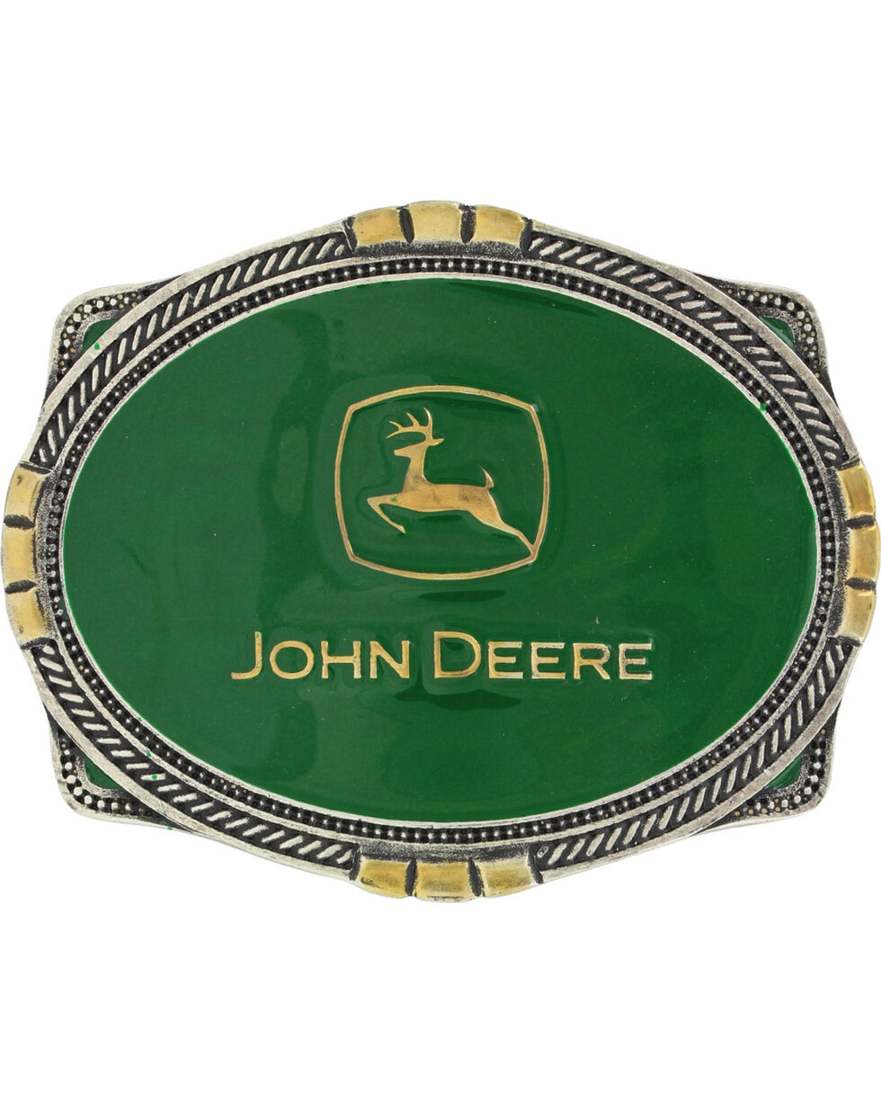 Montana Silversmiths Men's Silver John Deere Belt Buckle , Silver, hi-res