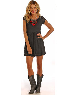 Panhandle Slim Women's Black Lace Baby Doll Dress, Black, hi-res