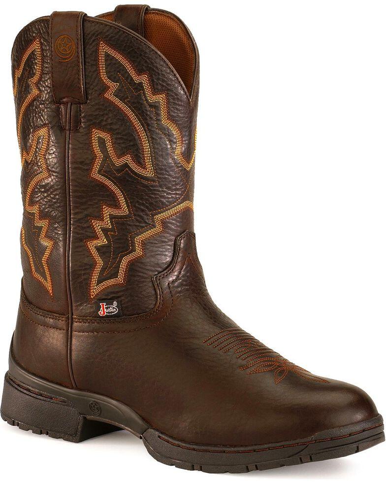 Justin Men's George Strait Twang Waterproof Cowboy Work Boots - Round Toe, Chestnut, hi-res