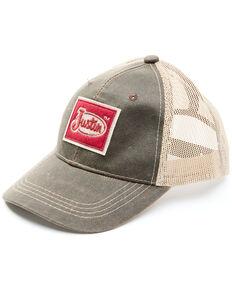 Justin Men's Weathered Brown Varsity Logo Patch Mesh-Back Ball Cap , Brown, hi-res