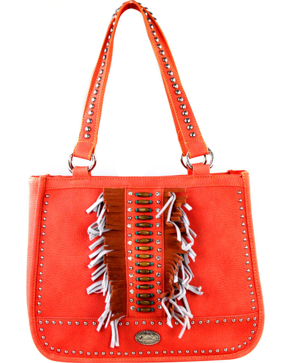 Montana West Women's Indian Beaded Double Strap Concealed Carry Handbag , , hi-res