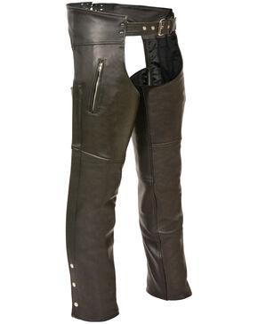Milwaukee Leather Men's Black Zippered Thigh Pocket Chaps , Black, hi-res