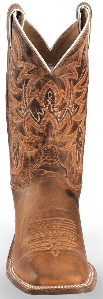 Justin Bent Rail Distressed Cognac Cowboy Boots - Square Toe, Brown, hi-res