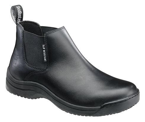 SkidBuster Men's Water Resistant Full Grain Leather Slip-On Work Shoes, Black, hi-res